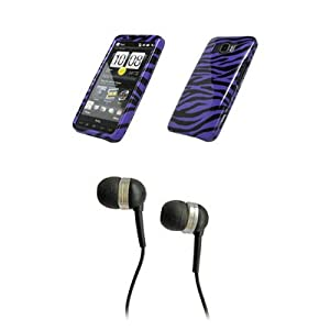 HTC HD2 Premium Purple Zebra Skin Design Snap-on Case Cover Cell Phone Protector + Black 3.5mm Stereo Hands-free Headphones for HTC HD2