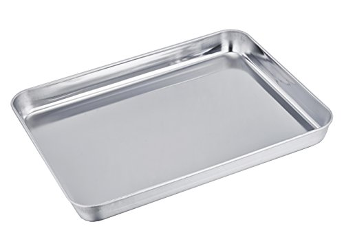 TeamFar Stainless Steel Compact Toaster Oven Pan Tray Ovenware Professional, 8''x10''x1'', Heavy Duty & Healthy, Deep Edge, Superior Mirror Finish, Dishwasher Safe (Compact Stainless Toaster Oven compare prices)
