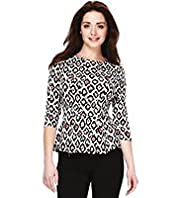 Petite Animal Print Peplum Top