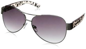 Steve Madden Women's S5486 Aviator Sunglasses,Silver,61 mm