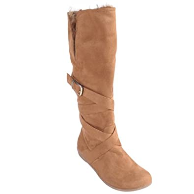 Brinley Co Women's Microsuede Buckle Detail Fashion Boots