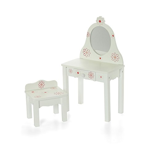 18 Inch Doll Furniture Bedroom Vanity With Chair Fits American Girl Dolls Cabinets Storage