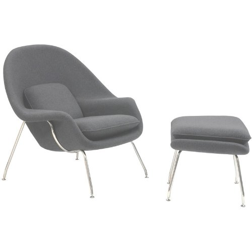 2 Pc Modern Lounge Chair & Ottoman Set (Light Gray)