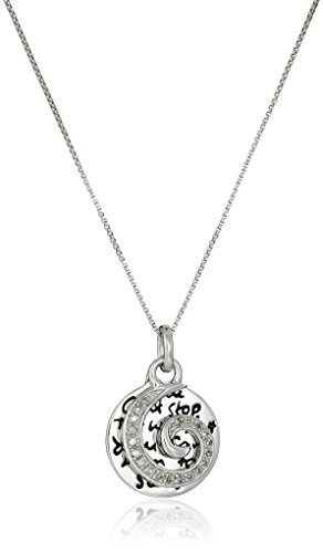 """Sterling Silver Two Piece Diamond Wave Circle """"You Can"""