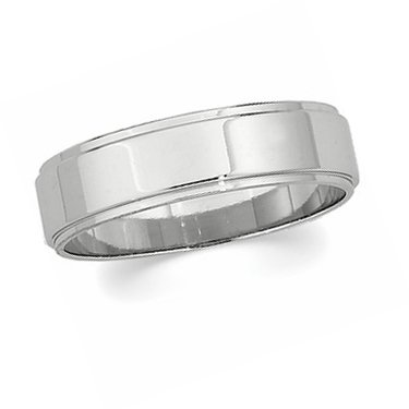 14K White Gold, Flat Edged Wedding Band 6MM (sz 14.5)