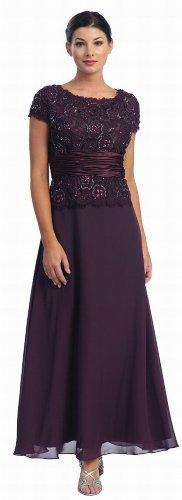 Mother of the Bride Formal Evening Dress #571 (X-Large, Eggplant)