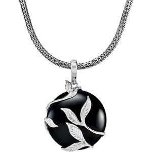 Elegant and Stylish 25.00X25.00 MM Genuine Onyx Pendant Enhancer in Sterling Silver , 100% Satisfaction Guaranteed.