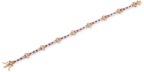 Two-Tone Round Channel Set C.Z. Ruby Diamond Bracelet (Nice Holiday Gift, Special Black Firday Sale)