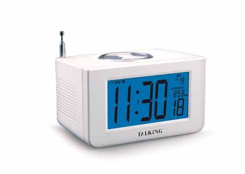 LS&S Talking Electric Atomic Clock with AM/FM Radio sangean am fm rds atomic clock radio with ipod dock