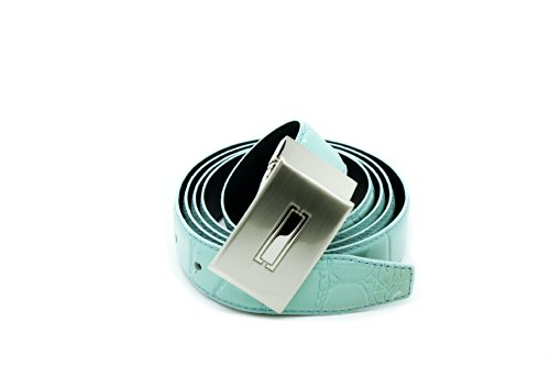 Turquoise Faux Alligator Skin Pattern Genuine Leather Mens & Womens Belt & Removable Buckle