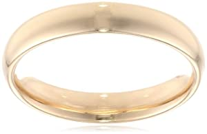 Men's 14k Yellow Gold 4mm Comfort Fit Plain Wedding Band, Size 9