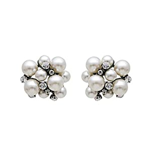 Bridal Wedding Jewelry Crystal Rhinestone Pearl Cluster Hematite Clear Ivory