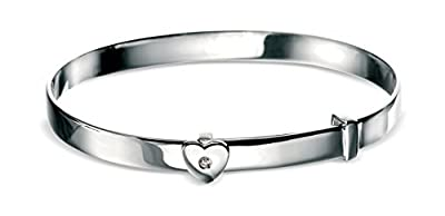 D for diamond Sterling Silver for Children's Diamond Heart Baby Bangle