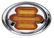 "Maxxima M36180Y 3"" X 2"" Amber Mini-Chrome Oval Clearance Marker Light 7 Led'S"