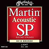 Martin MSP3100 12-54 acoustic light 80/20 bronze guitar strings (2 packs)