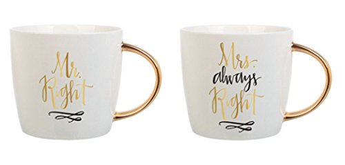 Slant Set of 2 Ceramic Coffee Mugs - Mr. Right & Mrs. Always Right (Mr And Mrs Coffee Mugs compare prices)