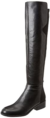 Nine West Women's Pristeen Riding Boot,Black/Black Leather,5 M US