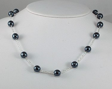 Single Row of Dark Steel Pearls on Silver Necklace (silver) GRAY 7mm Pearls
