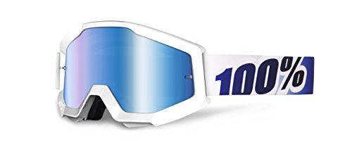 Maschera Mx 100 Percent Strata - Anti Fog Mirrored Lens Ice Age - Mirror Blu Len (Default , Bianco)