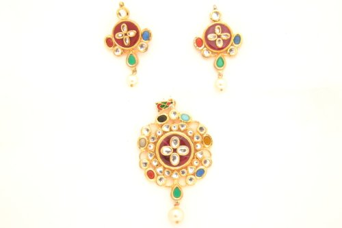 Fashion Balika Fashion Jewelry Gold-Plated Pendant Set For Women Gold-BFJER120 (Yellow)