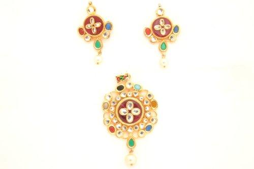 Fashion Balika Fashion Jewelry Gold-Plated Pendant Set For Women Gold-BFJER120 (Yellow)