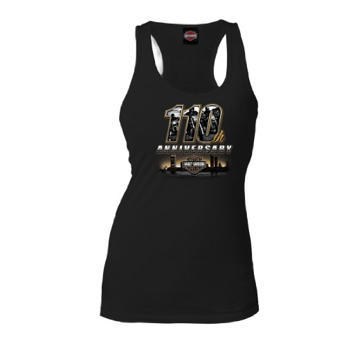 Harley-Davidson® Women's Skyline 110th Anniversary Commemorative Black Tank Top Shirt. House of Harley Graphics on Back. 302917680