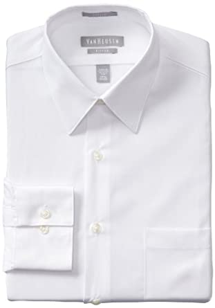 Van Heusen Men's Fitted Poplin Dress Shirt, White, 14.5 32-33