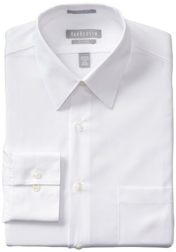 "Van Heusen Men's Fitted Poplin Dress Shirt, White, 17.5"" Neck 34""-35"" Sleeve"