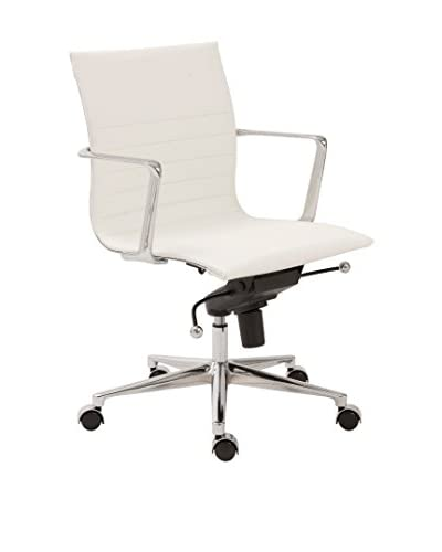 Euro Style Kyler Low Back Office Chair, White