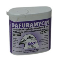 Dac Dafuramycin 50 Tablets. Treatment Against Salmonellosis- Paratyphus. For Pigeons, Birds & Poultry