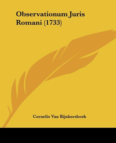 Observationum Juris Romani (1733)