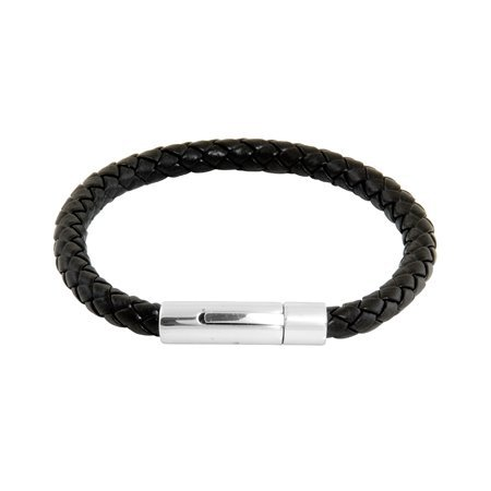 Mens Black Braided Leather bracelet With Stainless Steel Locking Clasp (8 1/2 inches)