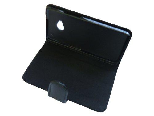Handy Tasche Book Tasche Flip Tasche Schutzhülle für HTC One M7 in Schwarz 831