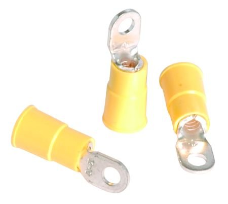 "16-14 Awg Insulated Vinyl Ring Terminals - 25 Per Bag - Size 1/4"" With White Earbud Headphones"
