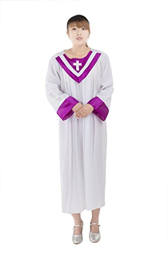 [Unisex Priest Pastor Christian Church Choir Robes Purple Collar 160] (Church Choir Costumes)