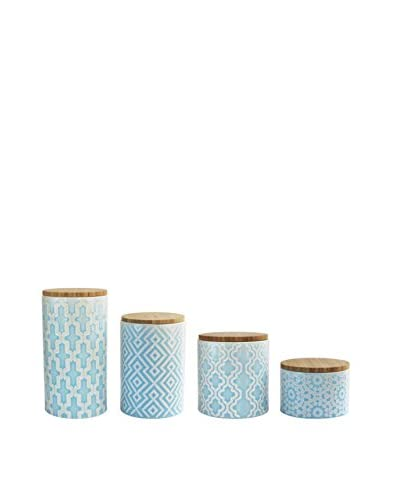American Atelier. 4-Piece Arabesque Blue Canister Set