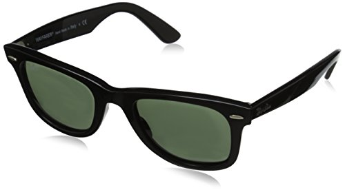 Ray-Ban RB2140 Original Wayfarer Sunglasses 50 mm,Black Frame/Crystal Green Lens/901 lens
