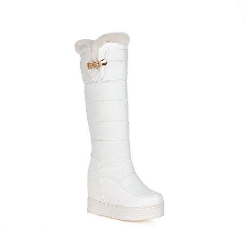 AgooLar Donna Piattaforma Punta Tonda Tacco Alto Media Altezza Puro Stivali, Bianco, 37