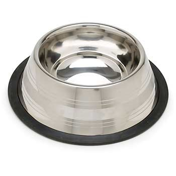 Petco Deep Two-Toned No-Tip Stainless Steel Bowl, 32 Oz., Color:Silver front-7600