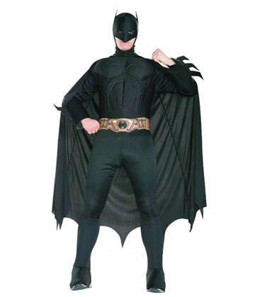 """Costume da Batman """"The Dark Night"""" con muscoli, per adulti"""