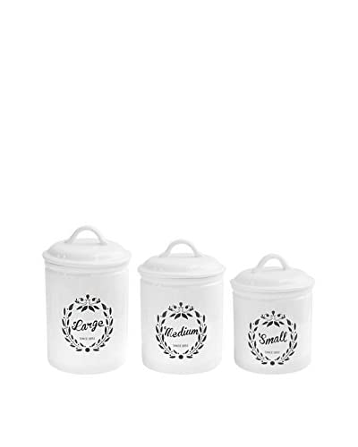 American Atelier Set of 3 Chateaux Round Canisters, White