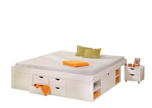 20900175 Bett 160x200 cm Doppelbett Stauraumbett Funktionsbett weiß Rost Kiefer massiv