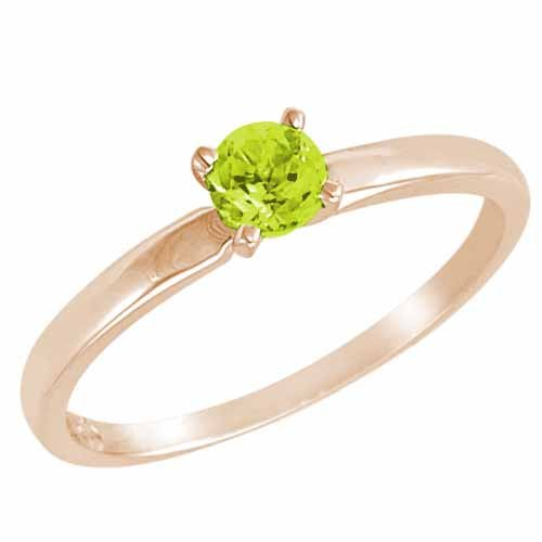 Ryan Jonathan Solitaire Peridot Ring in 14K White Gold (4.5 mm)