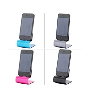 For Iphone 4 4g 4s USB Aluminum Dock Cradle Station Stand Charger with USB Cable -Pink from Loftek