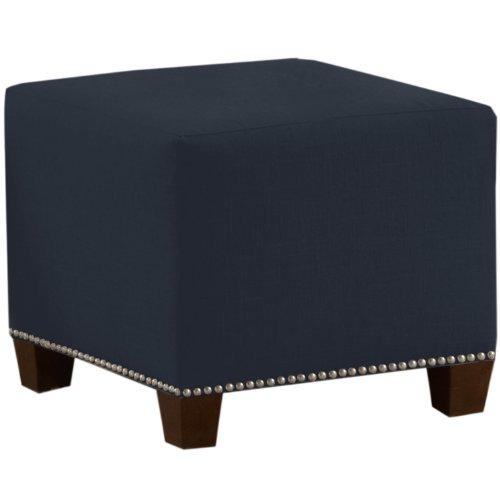 Skyline Furniture Square Nail Button Ottoman, Linen Navy
