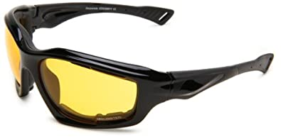 Bobster Desperado EDES001Y Square Sunglasses,Black Frame/Yellow Lens,One Size