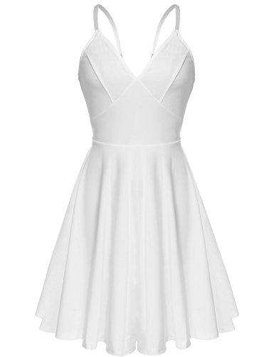Meaneor Women's Sleeveless Adjustable Spaghetti Straps?Summer Swing Dress, White/L