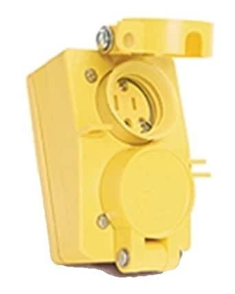 Woodhead 60W47DPLX Watertite Wet Location Straight Blade Receptacle, Female, Duplex Flip Lid, 3 Wires, 2 Poles, NEMA 5-15 Configuration, Yellow, 15A Current, 125V Voltage, 3ft Cord Length