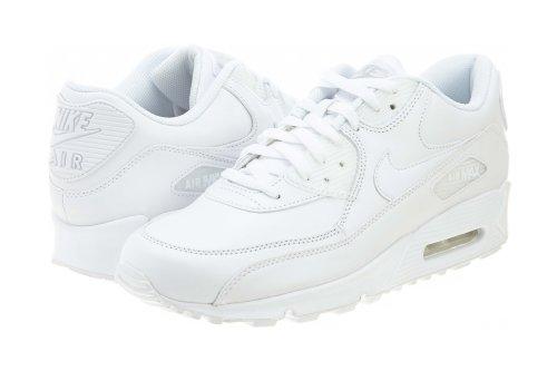 Nike Men's Air Max 90 Leather White/White Running Shoe 12.5 Men US