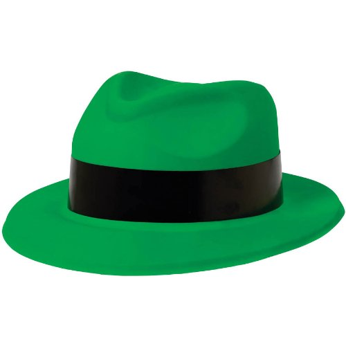 Totally 80's Green with Black Band Fedora - 1